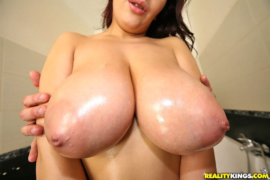Big white wet sticky tits